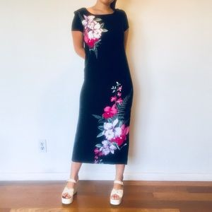 Vintage Maxi Dress Black Hawaiian Dress S